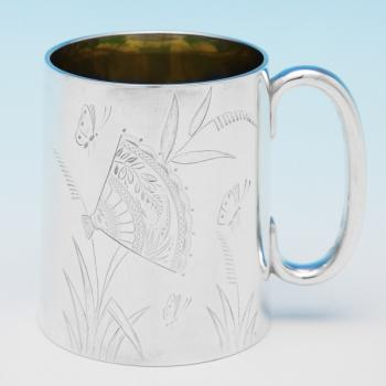 B9337: Antique Sterling Silver Christening Mugs - Edward Hutton Hallmarked In 1884 London - Victorian - Image 1