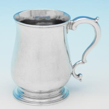 B9419: Antique Sterling Silver Christening Mugs - William Shaw II Hallmarked In 1762 London - Georgian - Image 1