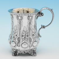 B9715: Antique Sterling Silver Christening Mug - John Evans II Hallmarked In 1845 London - Victorian - Image 1