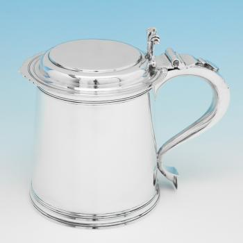 B9877:  Sterling Silver Tankard - Goldsmiths & Silversmiths Co. Hallmarked In 1931 London - George V - Image 1