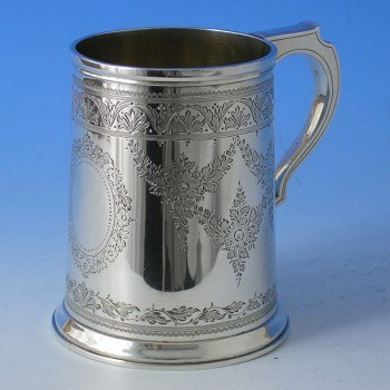 d9749: Antique Sterling Silver Mug - John Mappin Hallmarked In 1889 London - Victorian - image 1
