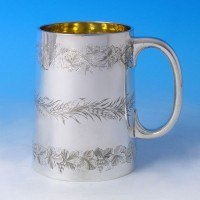 j2084: Antique Sterling Silver Egraved Pint Mug - Thomas Smily Hallmarked In 1872 London - Victorian - image 1