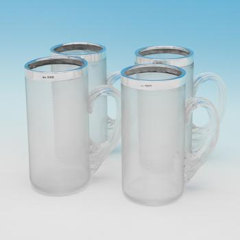 L0308: Antique Sterling Silver Mugs - Charles Fox Hallmarked In 1902 London - Edwardian - Image 1