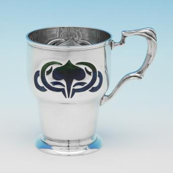 L0310: Antique Sterling Silver Christening Mug - William Hutton Hallmarked In 1902 London - Edwardian - Image 1
