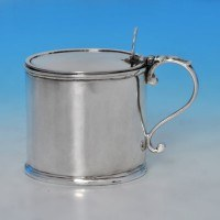 b0317: Antique Sterling Silver Mustard Pot - Charles Aldridge & Henry Green Hallmarked In 1775 London - George III Georgian - im