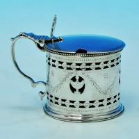 B1700: Antique Sterling Silver Mustard Pot - Robert Hennell I Hallmarked In 1781 London - Georgian - Image 1