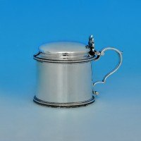 j4880: Antique Sterling Silver Mustard Pot - Barnards Hallmarked In 1876 London - Victorian - image 1