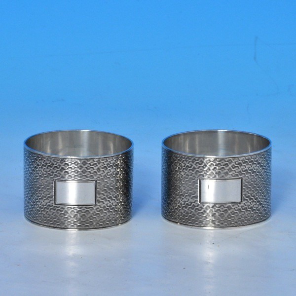 j8133b: Sterling Silver Pair Of Napkin Rings - Bert Gordon Hallmarked In 1944 Birmingham - George VI  - image 1