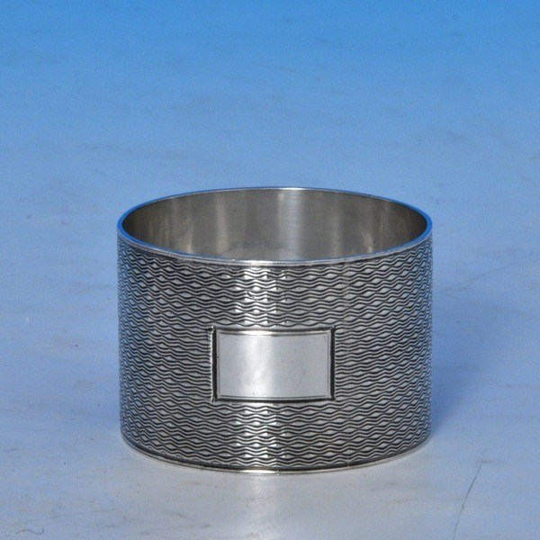 j8133b: Sterling Silver Pair Of Napkin Rings - Bert Gordon Hallmarked In 1944 Birmingham - George VI  - image 2