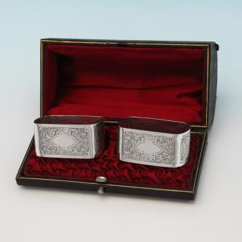 L0633: Antique Sterling Silver Napkin Rings - Lee & Wigfull Hallmarked In 1900 Sheffield - Victorian - Image 1