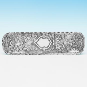 B9663: Antique Sterling Silver Pen Tray -  Hallmarked In 1891 London - Victorian - Image 1