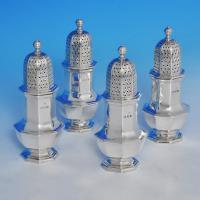 B0922:  Sterling Silver Set Of Four Pepper Pots - Goldsmiths & Silversmiths Co. Hallmarked In 1937 London - George VI - Image 1