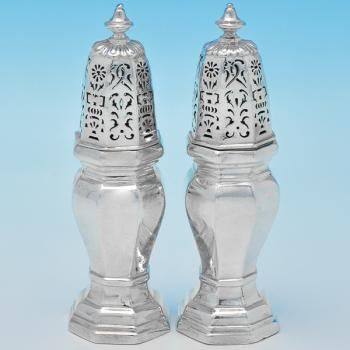 B6969:  Sterling Silver Pepper Pots - Pairpoint Brothers Hallmarked In 1930 London - George V - Image 1
