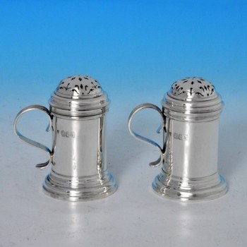 j7484: Antique Britannia Silver Pair Of Kitchen Peppers - Charles Stuart Harris Hallmarked In 1903 London - Edwardian - image 1