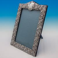 B5530a: Antique Sterling Silver Photograph Frame - Henry Matthews Hallmarked In 1900 Birmingham - Victorian - Image 1