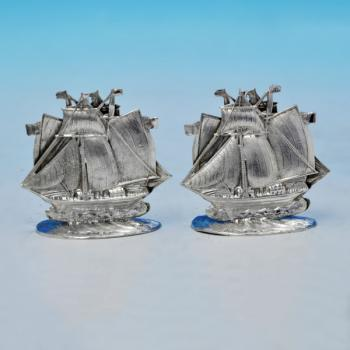 B2372p: Antique Sterling Silver Pair Of Menu Holders - Pembroke & Dingley Hallmarked In 1898 Birmingham - Victorian - Image 1
