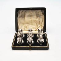 B3987: Antique Sterling Silver Set Of Six Place Card Holders - Mackay & Chisholm Hallmarked In 1908 Birmingham - Edwardian - Ima