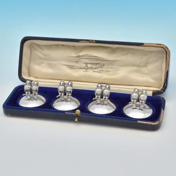 B6970: Antique Sterling Silver Menu Holders - Barker Brothers Ltd Hallmarked In 1913 Birmingham - George V - Image 1