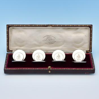 B8631: Antique Sterling Silver Set Of Four Place Card Holders - Sampson Morden Hallmarked In 1903 Chester - Edwardian - Image 1