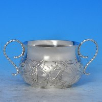 j7772: Antique Sterling Silver Porringer - Henry Stratford Hallmarked In 1910 Sheffield - George V  - image 1