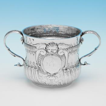 L0871: Antique Sterling Silver Porringer - J. Downes Hallmarked In 1700 London - William III - Image 1