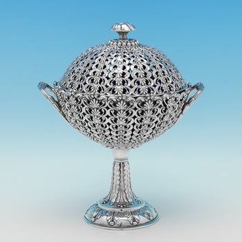 L0869: Antique Sterling Silver Potpourri Holder - Joseph Angell & Son Hallmarked In 1845 London - Victorian - Image 1