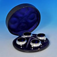 B1342: Antique Sterling Silver Set Of Four Salt Cellars - Edward C. Brown Hallmarked In 1873 London - Victorian - Image 1