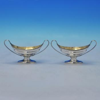 B1964: Antique Sterling Silver Pair Of Salt Cellars - Solomon Hougham Hallmarked In 1793 London - Georgian - Image 1