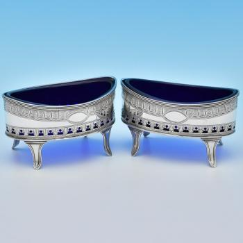 B8015: Antique Sterling Silver Salt Cellars - Crispin Fuller Hallmarked In 1795 London - Georgian - Image 1