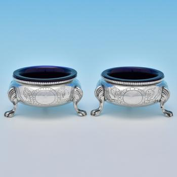 B8355: Antique Sterling Silver Pair Of Salt Cellars - Robert Hennell II Hallmarked In 1869 London - Victorian - Image 1