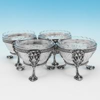 B9248: Antique Sterling Silver Salt Cellars - Robert Hennell II Hallmarked In 1859 London - Victorian - Image 1