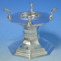 d5698: Sterling Silver Salt Cellar - Carringtons Hallmarked In 1920 London - George V  - image 1