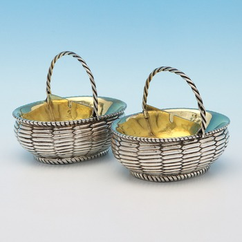 J0991: Antique Sterling Silver Salt Cellars - James King I Hallmarked In 1777 London - Georgian - Image 1