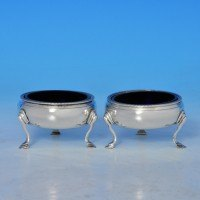j8003: Antique Sterling Silver Pair Of Salt Cellars - Hallmarked In 1784 London - George III Georgian - image 1