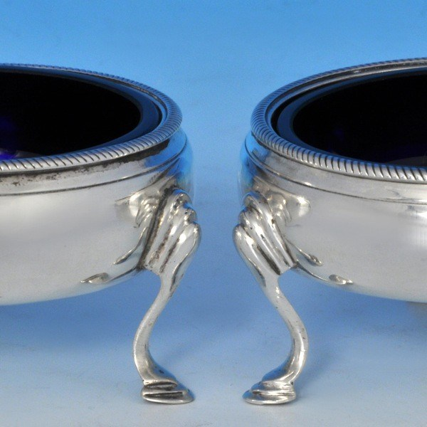 j8003: Antique Sterling Silver Pair Of Salt Cellars - Hallmarked In 1784 London - George III Georgian - image 3