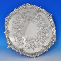B0445: Antique Sterling Silver Salvers - Sibray, Hall & Co.  Hallmarked In 1880 Sheffield - Victorian - Image 1