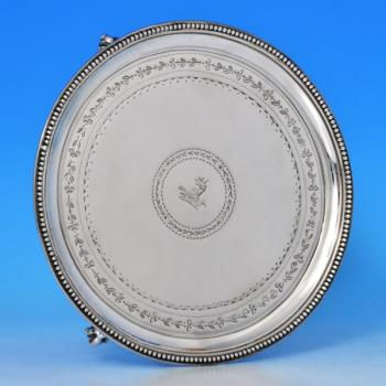 B0862: Antique Sterling Silver Salvers - James Stamp & John Baker I Hallmarked In 1782 London - Georgian - Image 1