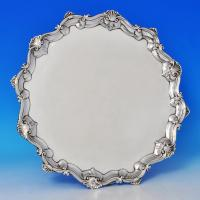 B0942: Antique Sterling Silver Salver - Richard Rugg Hallmarked In 1762 London - Georgian - Image 1