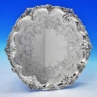 B1676: Antique Sterling Silver Salver - Barnard Brothers Hallmarked In 1858 London - Victorian - Image 1