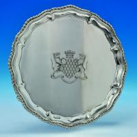 B1816: Antique Sterling Silver Salver - William And Robert Peaston Hallmarked In 1758 London - Georgian - Image 1