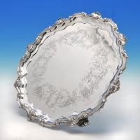 B3748: Antique Sterling Silver Salver - Benjamin Smith Hallmarked In 1844 London - Victorian - Image 1