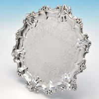 B4617: Antique Sterling Silver Salver - Barnards Hallmarked In 1851 London - Victorian - Image 1