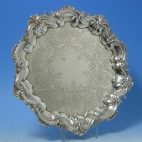 d6020: Antique Sterling Silver Salver - Benson Brothers Hallmarked In 1901 Birmingham - Edwardian - image 1