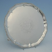 e0393: Antique Sterling Silver Salvers - Joseph Crouch Hallmarked In 1759 London - George II Georgian - image 1