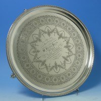 e2781: Antique Sterling Silver Salver - Henry Wilkinson Hallmarked In 1875 London - Victorian - image 1