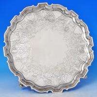 J5467: Antique Sterling Silver Salver - George Hodges Hallmarked In 1738 London - Georgian - Image 1