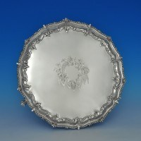 j5992: Antique Sterling Silver Salver - Martin Hall & Co. Hallmarked In 1881 London - Victorian - image 1