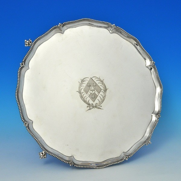 j6313: Antique Sterling Silver Salver - Richard Rugg Hallmarked In 1774 London - George III Georgian - image 1