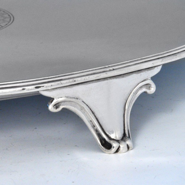 j7810: Antique Sterling Silver Salver - Hallmarked In 1796 London - George III Georgian - image 3