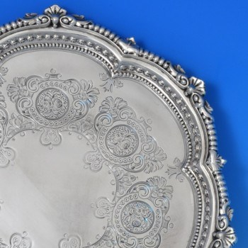 j7863: Antique Sterling Silver Salver - Reid & Sons Hallmarked In 1903 London - Edwardian - image 2